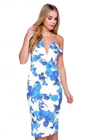 Womens Off Shoulder Floral Printed V-neck Midi Dress Blue