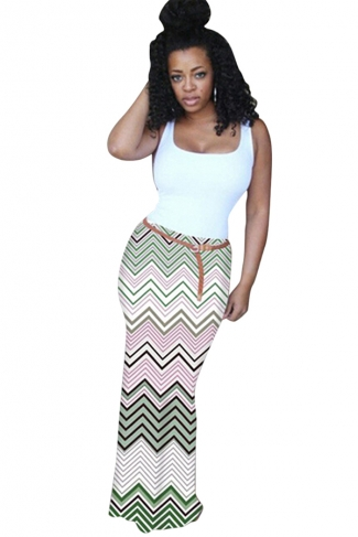 Womens Fashion Camisole Colorful Wave Stripes Maxi Dress Green