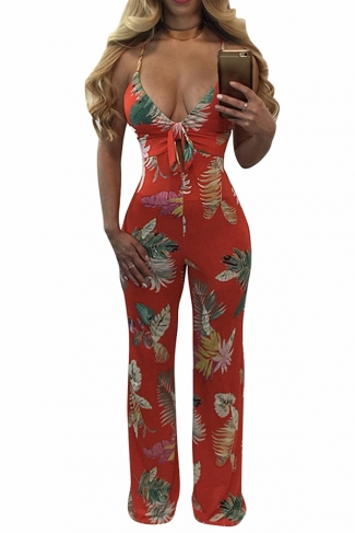 Womens Plunging Neck Lace-up Backless Floral Palazzo Jumpsuit Red