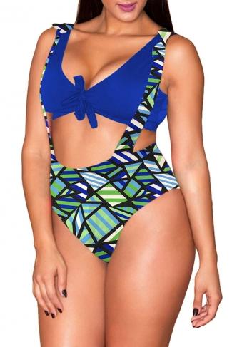 Womens Plus Size Geometry Printed High Waist 2PCS Bikini Sapphire Blue