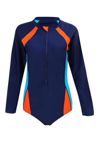 Womens Zip Up Color Block Long Sleeve One Piece Diving Suit Navy Blue