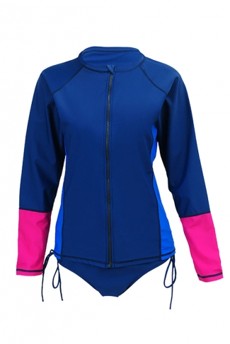 Womens Color Block Long Sleeve Double-string Zipper Diving Suit Blue