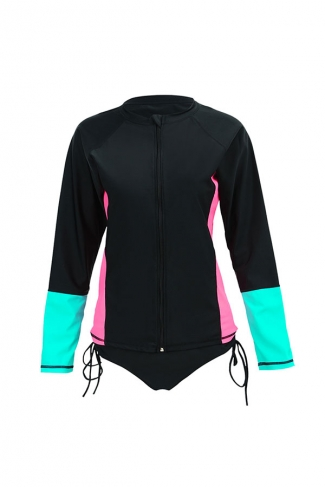 Womens Color Block Long Sleeve Double-string Zipper Diving Suit Black