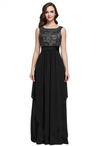 Womens Lace Patchwork Sleeveless V-Neck Back Evening Dress Black