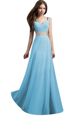 Womens V-Neck Rhinestones Patchwork Maxi Dress Evening Dress Blue