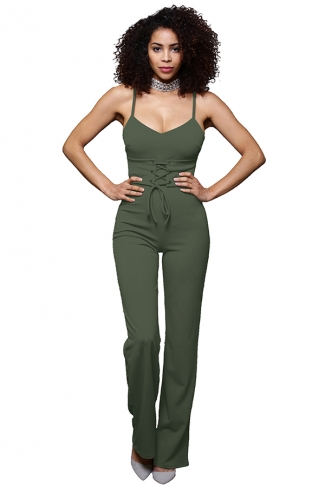 Womens Sexy Straps Lace Up High Waist Wide Legs Jumpsuit Army Green