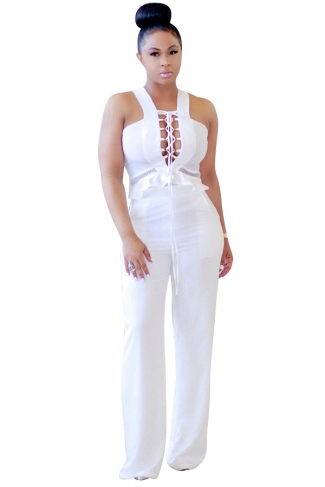 Womens Sexy Cut Out Lace-Up High Waist Wide Legs Jumpsuit White
