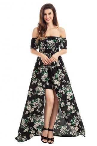 Womens Off Shoulder Vibrant Floral Romper Maxi Dress Black