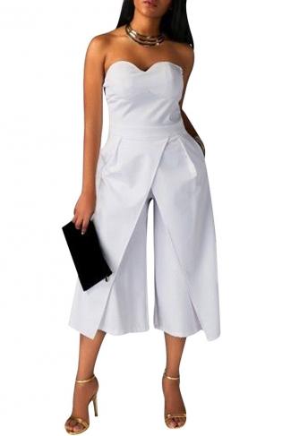 Womens Sexy Strapless Plain High Waist Wide Legs Jumpsuit White