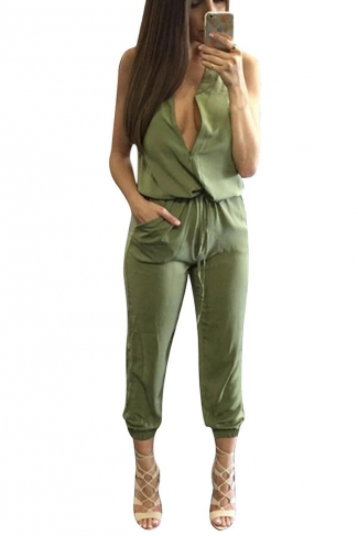 Womens Casual Sleeveless V-Neck Draw String Jumpsuit Green