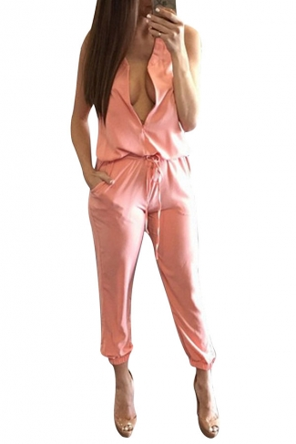 Womens Casual Sleeveless V-Neck Draw String Jumpsuit Pink