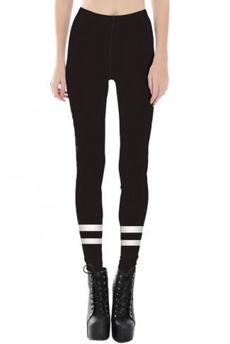 Womens Slimming White Cross Stripe Printed Cropped Leggings Black