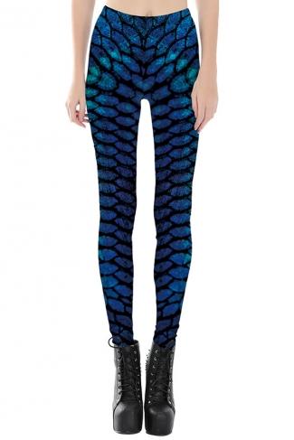 Womens Slimming Digital Printed Cropped Leggings Sapphire Blue