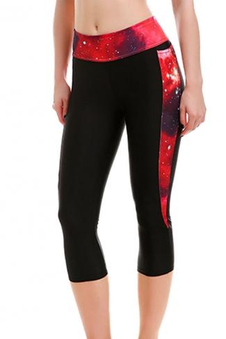 Womens High Waist Galaxy Printed Cropped Sport Leggings Red