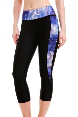 Womens High Waist Galaxy Printed Cropped Sport Leggings Blue