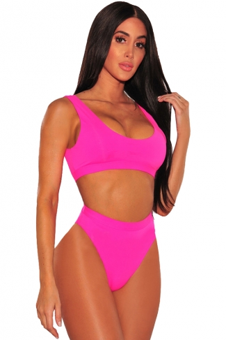 Womens Sexy Sports Styles High Waist Unpadded Bikini Set Rose Red