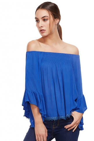 Womens Off Shoulder Elastic Flare Sleeve T-Shirt Blue