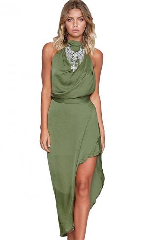 Women Sexy Halter Backless High Slits Evening Dress Green