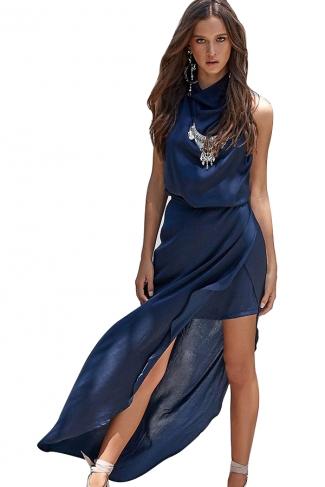 Women Sexy Halter Backless High Slits Evening Dress Navy Blue