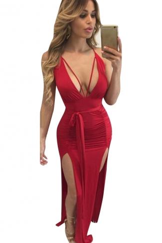 Women Deep V Neck Backless Pleated High Slits Club Wear Dress Red