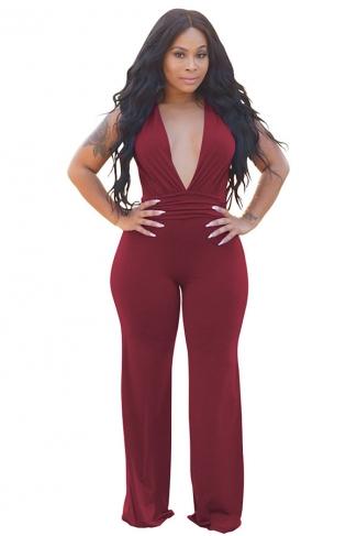 Womens Deep V-Neck High Waist Sleeveless Wide Legs Jumpsuit Ruby
