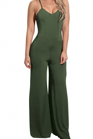 Women Sexy Straps High Waist Wide Legs Open Back Jumpsuit Army Green