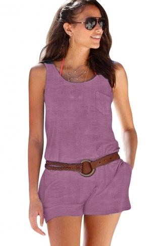 Women Casual Pocket Crew Neck Romper Purple