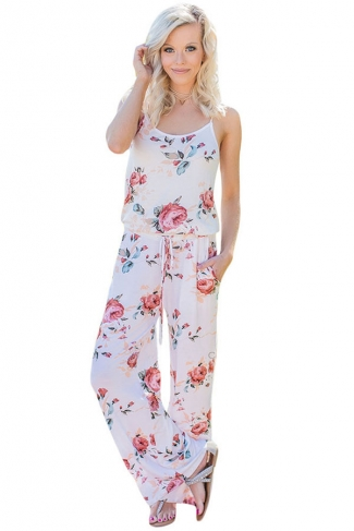 Women Casual Straps Draw String Floral Printed Jumpsuit White