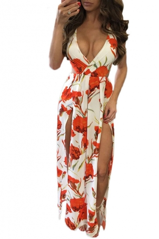 Women Sexy Floral Print Knot Back Sleeveless Romper Dress Orange