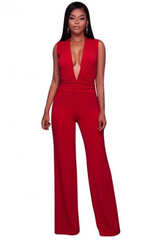 Women Sexy Deep V Neck High Waist Wide Legs Jumpsuit Red