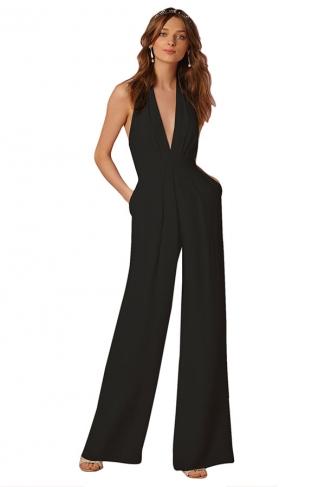 Women Sexy Halter Deep V-Neck High Waist Wide Legs Jumpsuit Black