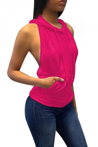 Women Sexy Hooded Backless Sleeveless Loose Top Rose Red