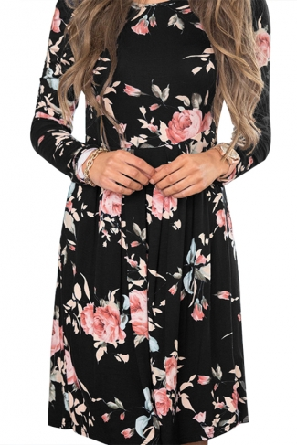 Women Crew Neck Floral Printed Long Sleeve Skater Dress Black