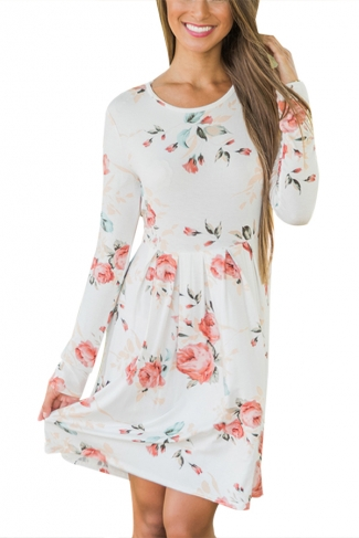 Women Crew Neck Floral Printed Long Sleeve Skater Dress White