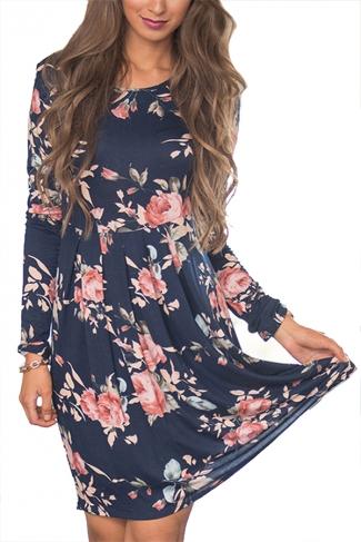 Women Crew Neck Floral Printed Long Sleeve Skater Dress Navy Blue