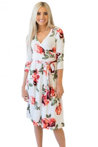 Women V Neck Tie Waist Floral Print Long Sleeve Skater Dress Orange Red