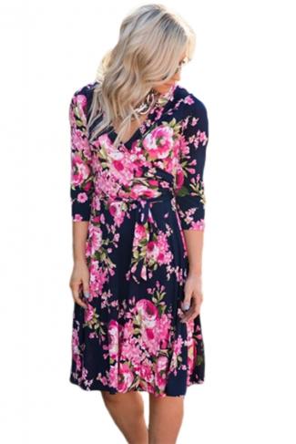 Women V Neck Tie Waist Floral Printed Long Sleeve Skater Dress Pink