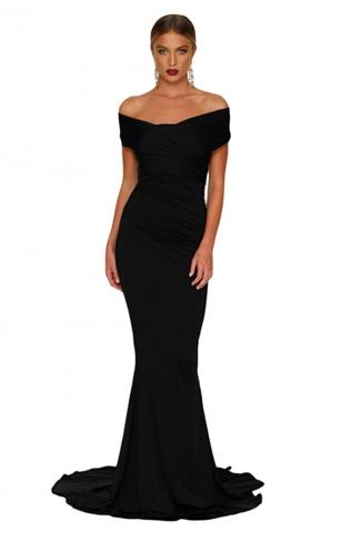 Women Elegant Off-Shoulder Mermaid Wedding Party Gown Dress Black