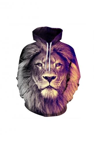 Lion Digital Printed Hoodie Brown