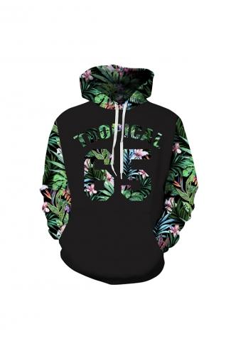 Tropical Leaves Digital Printed Hoodie Green