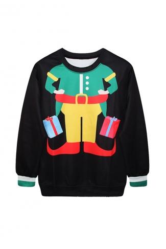 Women Clown Printed Pullover Ugly Christmas Sweatshirt Black