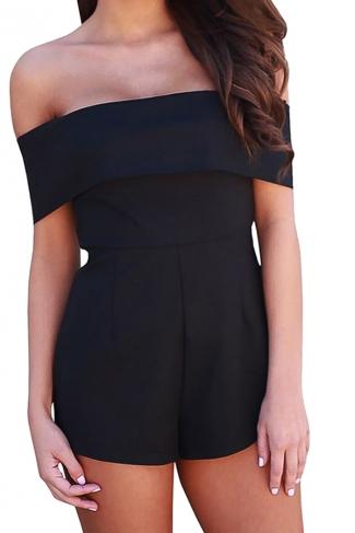 Women Sexy Off Shoulder Plain Zipper Romper Black