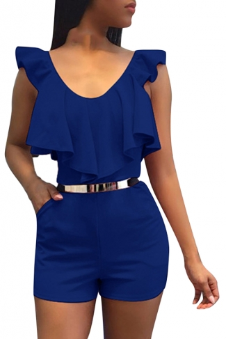 Women Sexy V Neck Ruffle High Waist Romper Sapphire Blue