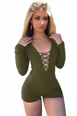Women Sexy Deep V Lace Up Long Sleeve Romper Army Green