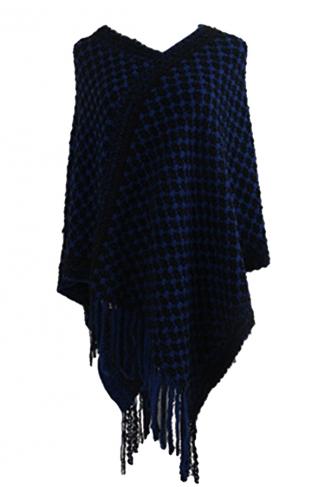 Women Contrast Color Fringe Hem Poncho Navy Blue