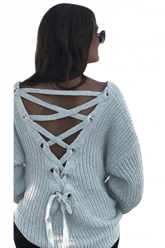 Women Sexy V Neck Cut-Out Back Lace Up Plain Sweater Light Gray