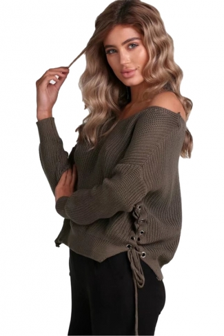 Women V Neck Side Split Lace Up Loose Sweater Army Green