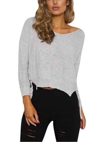 Women V Neck Side Split Lace Up Loose Sweater Gray