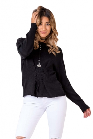 Women Casual Lace Up Long Sleeve Plain Loose Sweaters Black