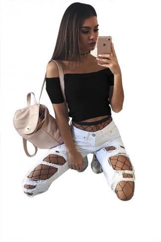 Women Sexy Off Shoulder Plain Crop Sweater Black